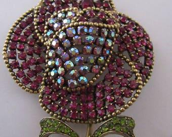 """Vintage """"Weiss"""" Pink Rhinestone Large Flower Brooch"""