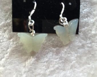Serpentine Earrings, Butterfly Earrings, Gemstone Earrings, Dangle Earrings, Green Earrings, Gift for Her, sterling silver Butterfly Jewelry