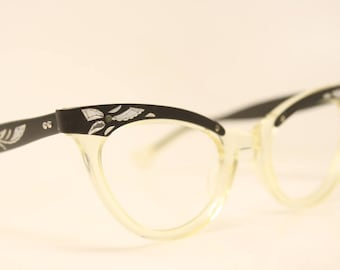 Unused Cat Eye Glasses Black Yellow Combination vintage cateye frames NOS