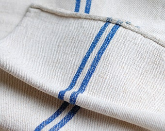 VINTAGE European Grain Sack with BRIGHT BLUE stripes