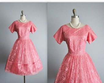 STOREWIDE SALE 50's Lace Dress // Vintage 1950's Pink Silver Metallic Lace Cocktail Party Prom Dress M