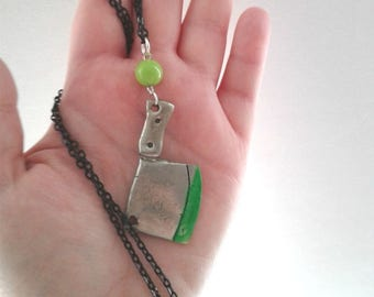 The Walking Dead Necklace -  Zombie Blood Cleaver - Zombie hunter