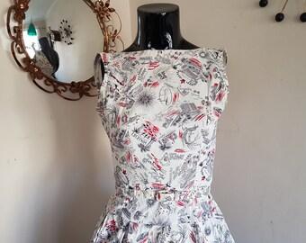 Vintage 1950s Novelty Print Dress Travel Print