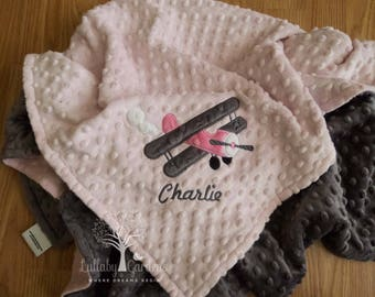 Airplane Personalized Minky Baby Blanket, Airplane Minky Baby Blanket, Personalized Baby Girl Blanket, Personalized Baby Gift