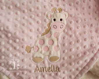 Giraffe Personalized Minky Baby Blanket, Personalized Minky Baby Blanket, Pink and Ivory Giraffe Appliqued Blanket, Giraffe Minky Blanket