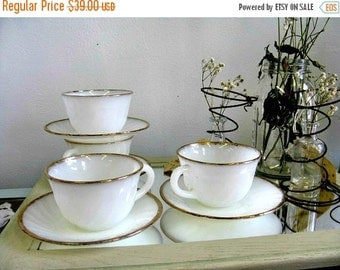 Vintage Fire King Coffee Cups and Saucers Fireking Gold White