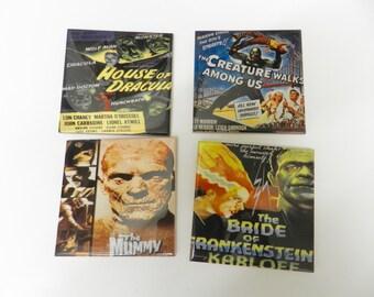 Vintage Horror Movie Drink Coaster Set Ceramic Tile  Old Horror Movie Poster Coasters  Decorative Assorted Mummy Dracula Set Four