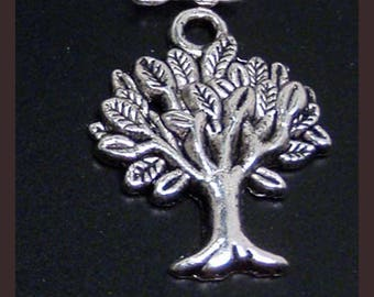20 silver tree of life charms pendants branches branch leaves leaf nature mother earth 22mm x 17mm  - C0251-20