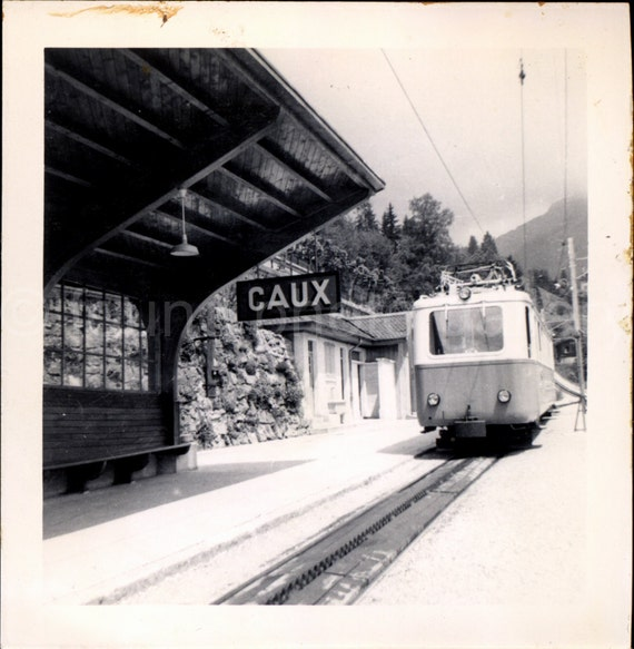Vintage Photo, Caux Train Station, Switzerland, Black & White Photo,  Found Photo, Travel Photo, Snapshot, Vintage Train, Landscape   *0165
