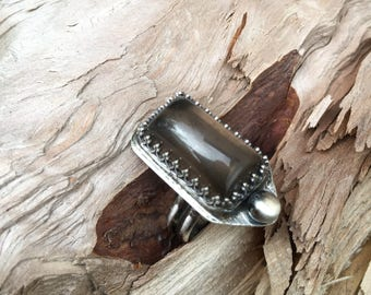 Smokey Quartz and Sterling Ring - Size 7.75