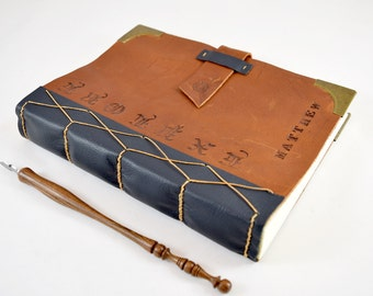 Thick Leather Journal with Personalized Name and Corner Protectors