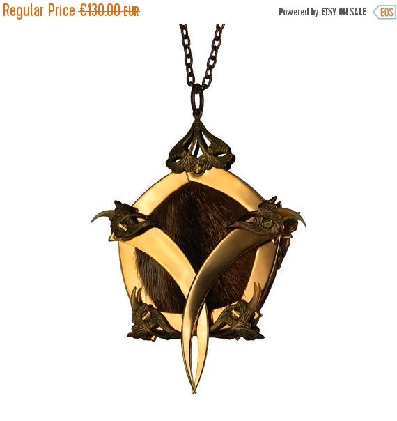 ON SALE 30% OFF - Nogitsune / Gold Pentagon Cage Vixen Queen Medallion / Free Shipping