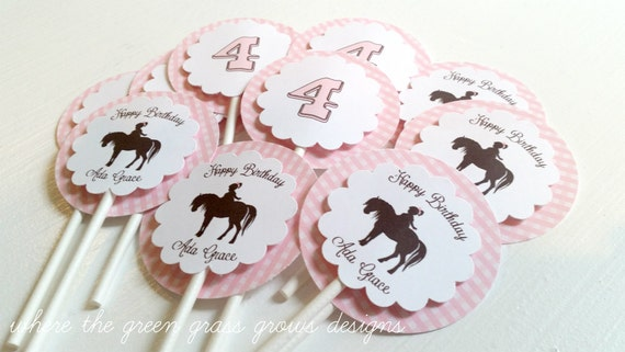 Pony Cupcake Toppers Light Pink Gingham