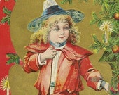Victorian Child by Candlelit Christmas Tree – Bright and Cheerful Vintage Christmas Postcard