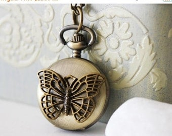 Antique Gold Butterfly Pocket Watch Necklace (PW-08)