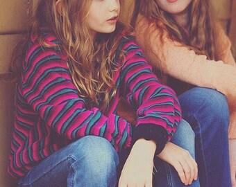 Vintage hot pink striped velour Sweatshirt