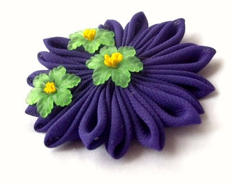 Cute Purple Green and Yellow Lily Pad Hair Clip
