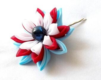 Red White and Blue Water Lily Lotus Bobby Pin Tsumami Kanzashi Hair Flower
