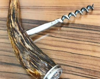 Antique 1912 Wine Corkscrew with Antler and Sterling Silver Handle