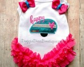 Dog T Shirt, Happy Camper, Embroidery Applique Dog Shirt, XS, Small, Medium, with or without bows or ruffles