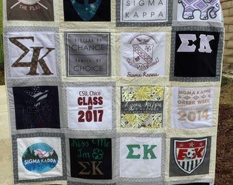 T-shirt Quilt 20 Shirt T-shirt Quilt Memory Keepsake Custom Made T-shirt Quilt
