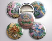 Disneyland Map Buttons, 1""