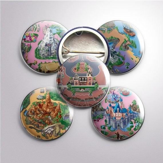 """Disneyland Map Buttons, 1"""""""
