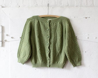 Cropped Cardigan XS/S • Wool Cardigan Sweater • Green Cardigan • Boatneck Sweater • Knit Cardigan • Short Sleeve Sweater by Serbin  | T648