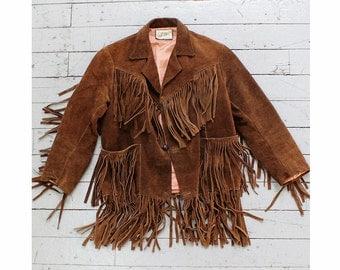 Suede Fringe Jacket XS • Brown Suede Jacket • Suede Leather Fringe Jacket • 70s Jacket Made in Mexico • Boho Jacket  | O365
