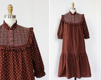 Calico Dress XS/S • Vintage Floral Dress • 70s Dress • Cotton Dress • Puff Sleeve Dress • Prairie Dress • Vintage Dress | D1172