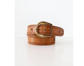 Tooled Leather Statement Belt • Vintage Belt • 80s Belt • Tooled Leather Belt • Brown Leather Belt • Handmade Leather Belt | BT331
