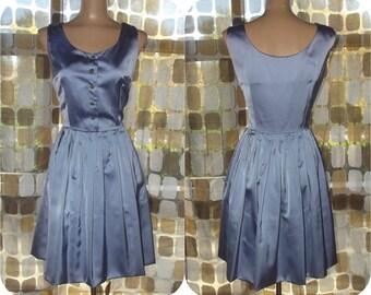 Vintage 50s Dress   1950s Full Dress   Periwinkle Satin   Rhinestones   By Robbie Reid   Plus Size 16 1X XL   TLC