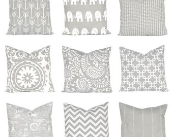 One Gray Pillow Cover - Grey Pillow Cover - Grey Bedding - Throw Pillow Covers - Sofa Pillows - Bedroom Decor - Silver Pillows - Nursery