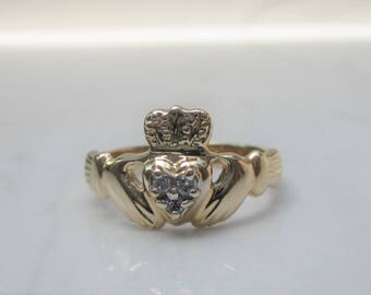 Estate 14k Solid Yellow Gold and Diamond Claddagh Ring, Size 5.5