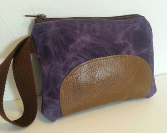 Purple Waxed Canvas and Brown Leather Wristlet