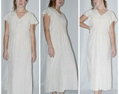 Vintage 1930s Ivory Silk Bird In Flight Jacquard Loose Comfortable Night Gown 38 Inch Bust
