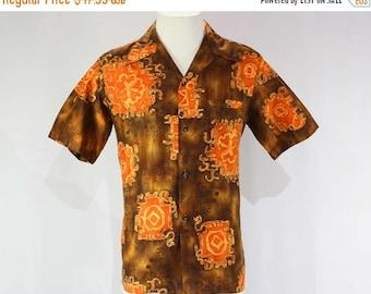 Men's Medium 1960s Hawaiian Shirt - Mens 60s Aloha - Short Sleeve - Cocoa & Orange Sand Dollars Print - Summer - Malihini - Chest 42 - 45410