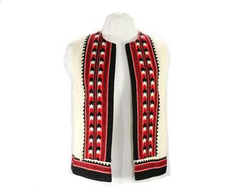 Size 10 Southwestern Vest - Red Black Ivory Chimayo Style Wool - Sleeveless Ethnic 1960s Modernist - 60s Mayan Modern Look - Bust 39 - 48810