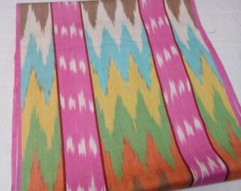Uzbek multicolor cotton woven ikat fabric by meter. F021