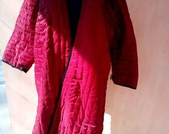 Uzbek vintage hand quilted red chapan. Tribal, ethnic kaftan