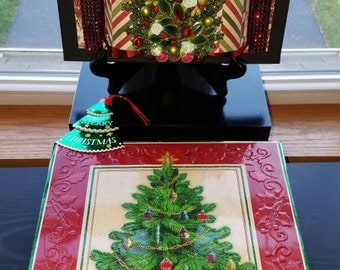 Beautifully Adorned Christmas Tree Greeting Card Keepsake on Canvas - 3D Embellishments Added - Gift box and Display Stand Included -