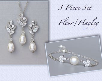 Crystal and Pearl Bridal Set, Earrings, Necklace & Bracelet Set, Bridal Jewelry Set, Silver Wedding Jewelry Set, FLEUR/HAYLEY