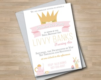 Princess Tea Party Invitation, Girl Birthday Invite, Royal Crown, Tea Pot, Flowers, Pink and Gold