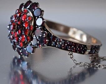 Czech Victorian Bohemian Rose Cut & Table Top Garnet Bangle Bracelet 4 Tiers, Tombak 6.5 inch Wrist