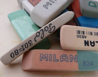 8 Vintage assorted ERASERS from shown - Antique school ERASER set from past - Rubber collection