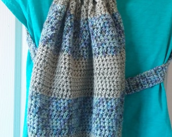 Crochet Backpack - Sage Green and Blue