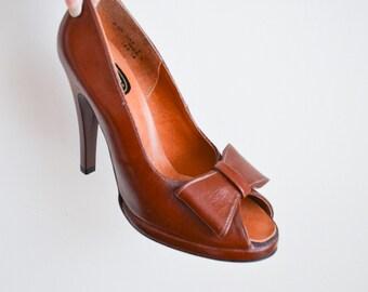 1970s does 40s Brown high heel peep toe shoes / 1940s style platform heels Sz uk 5