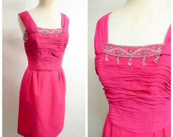 1960s Hot pink silk georgette rhinestone cocktail dress / 50s 60s shocking pink ruched beaded wiggle dress - XS