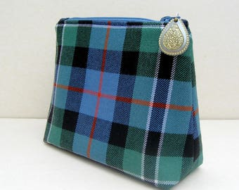 Zip top pouch, storage pouch, tartan wool zipped bag, jewelry storage, blue tartan bag