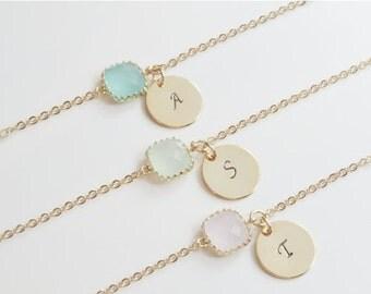 10% OFF CYBER WEEK Gold Personalized Bracelet   Personalized Bridesmaid Gold Initial Bracelet   Birthstone Bracelet   Gold Initial Bracelet